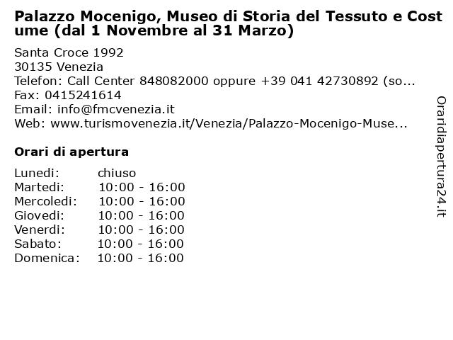 Palazzo Mocenigo, Museo di Storia del Tessuto e Costume (dal 1 Novembre al 31 Marzo) a Venezia: indirizzo e orari di apertura
