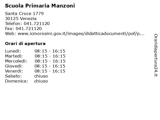 Scuola Primaria Manzoni a Venezia: indirizzo e orari di apertura