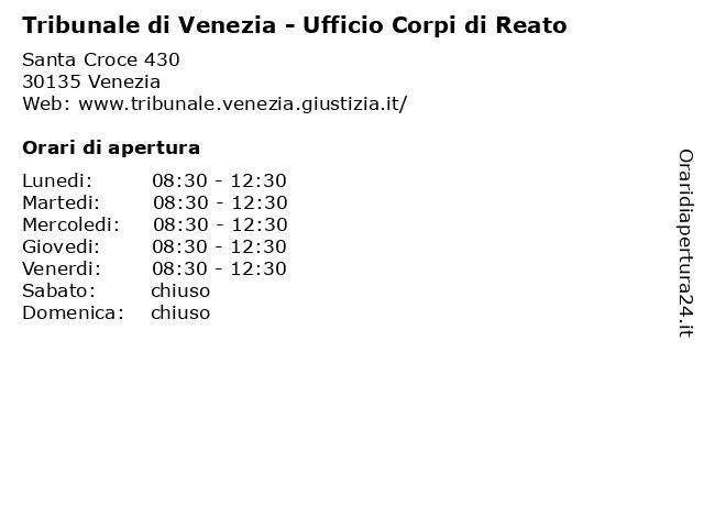 Tribunale di Venezia - Ufficio Corpi di Reato a Venezia: indirizzo e orari di apertura