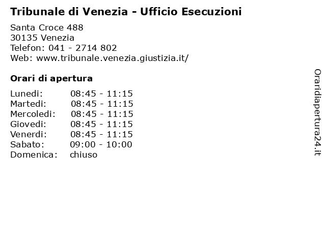 Tribunale di Venezia - Ufficio Esecuzioni a Venezia: indirizzo e orari di apertura