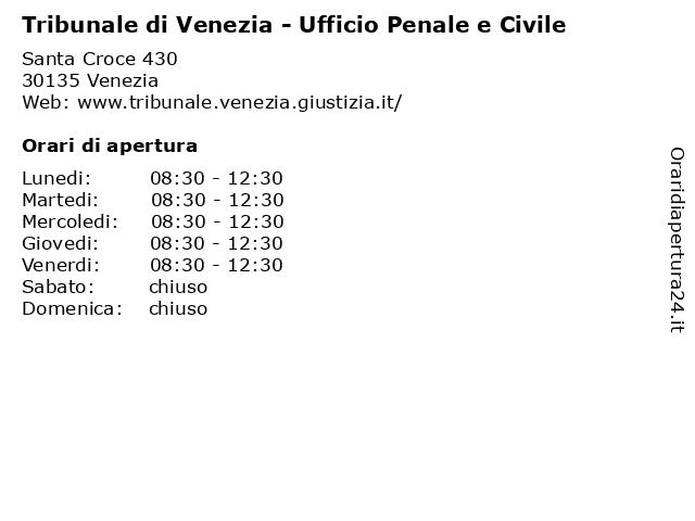 Tribunale di Venezia - Ufficio Penale e Civile a Venezia: indirizzo e orari di apertura