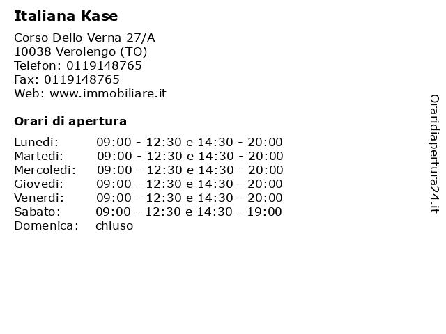 Italiana Kase a Verolengo (TO): indirizzo e orari di apertura