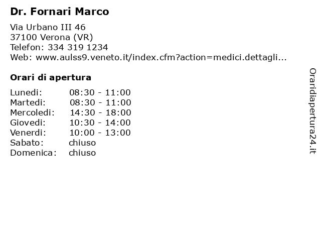 Dr. Fornari Marco a Verona (VR): indirizzo e orari di apertura