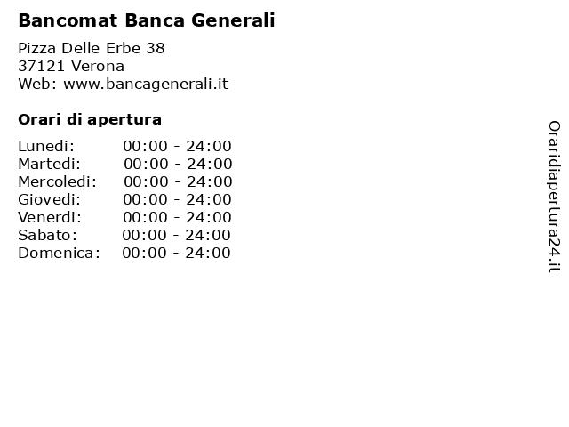 Bancomat Banca Generali a Verona: indirizzo e orari di apertura