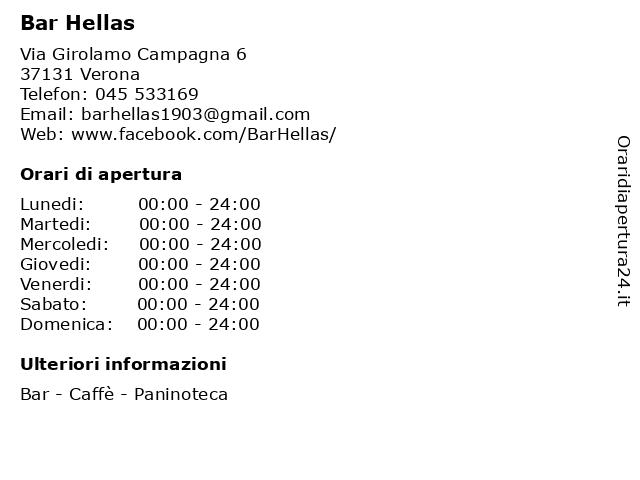 Bar Hellas a Verona: indirizzo e orari di apertura