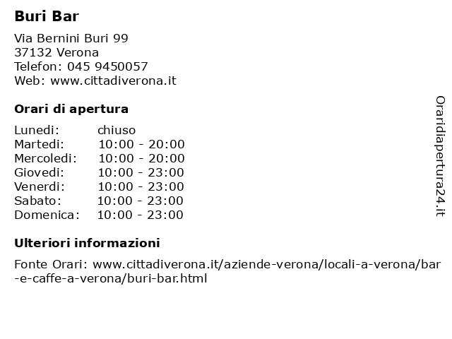 Buri Bar a Verona: indirizzo e orari di apertura