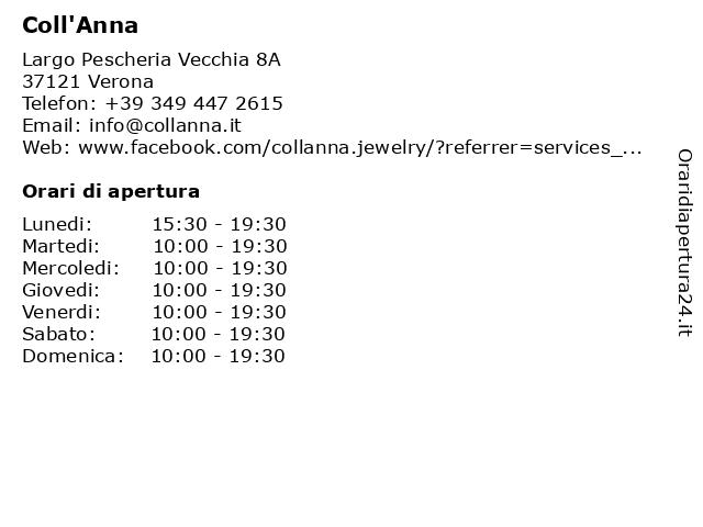 Coll'Anna a Verona: indirizzo e orari di apertura