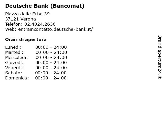 Deutsche Bank (Bancomat) a Verona: indirizzo e orari di apertura