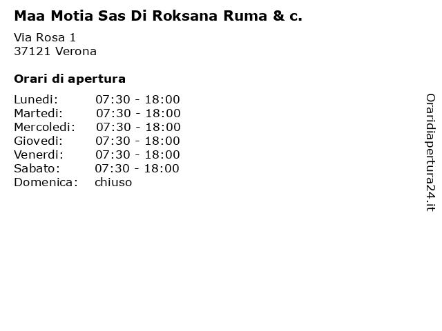 Maa Motia Sas Di Roksana Ruma & c. a Verona: indirizzo e orari di apertura