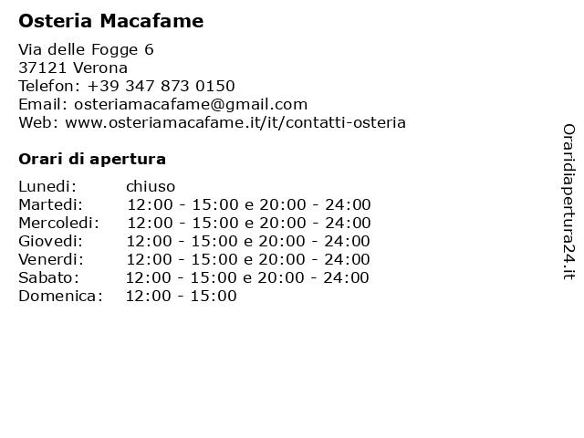 Osteria Macafame a Verona: indirizzo e orari di apertura