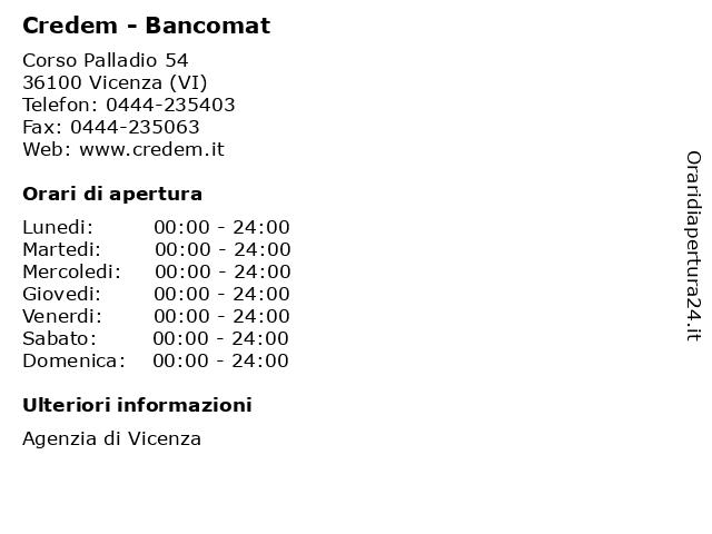 Credem - Bancomat a Vicenza (VI): indirizzo e orari di apertura