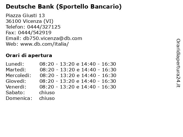 Deutsche Bank (Sportello Bancario) a Vicenza (VI): indirizzo e orari di apertura