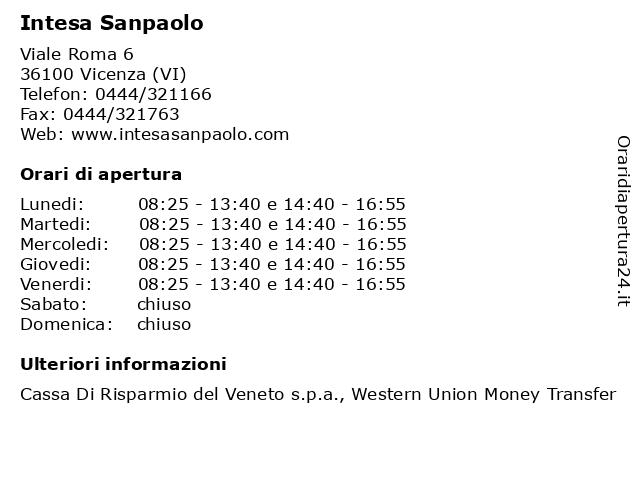 Intesa Sanpaolo a Vicenza (VI): indirizzo e orari di apertura