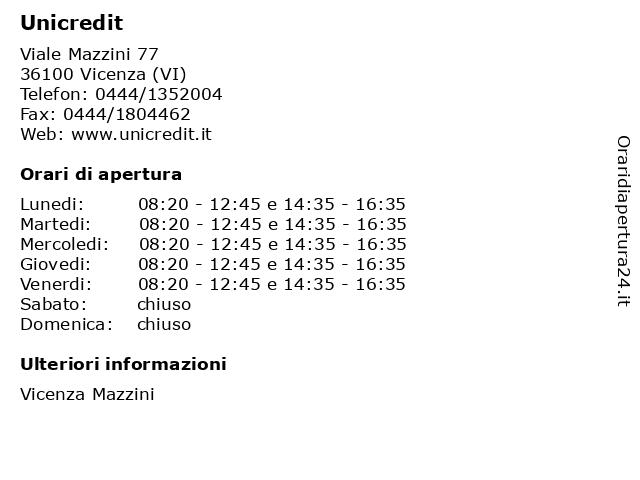 Unicredit a Vicenza (VI): indirizzo e orari di apertura