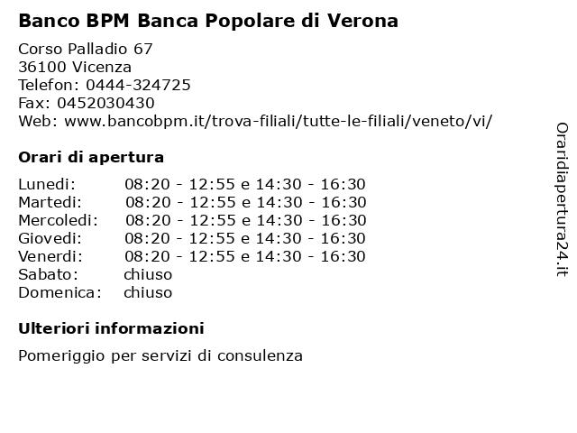 Banco BPM Banca Popolare di Verona a Vicenza: indirizzo e orari di apertura