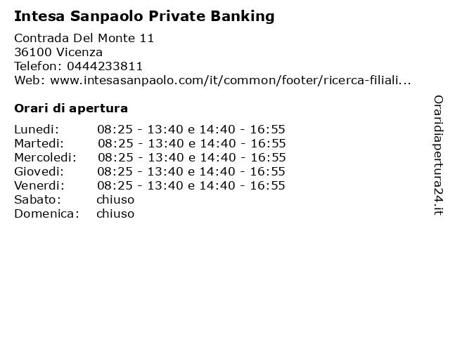 Intesa Sanpaolo Private Banking a Vicenza: indirizzo e orari di apertura