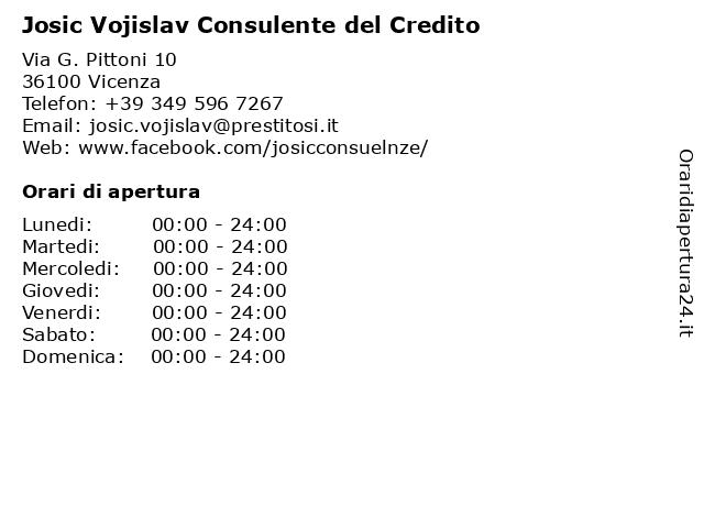 Josic Vojislav Consulente del Credito a Vicenza: indirizzo e orari di apertura