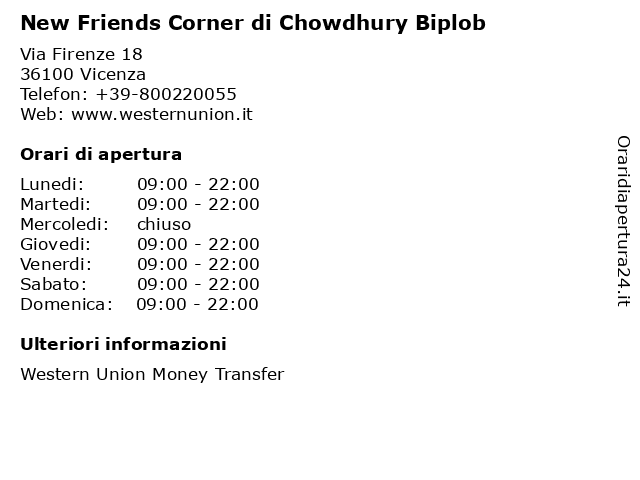 New Friends Corner di Chowdhury Biplob a Vicenza: indirizzo e orari di apertura