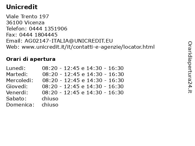 Unicredit a Vicenza: indirizzo e orari di apertura