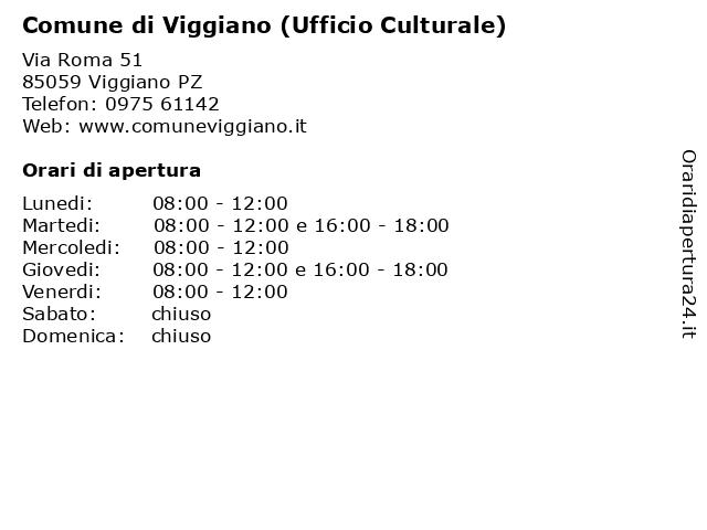 Comune di Viggiano (Ufficio Culturale) a Viggiano PZ: indirizzo e orari di apertura