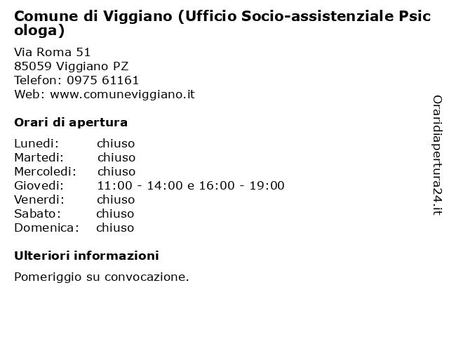Comune di Viggiano (Ufficio Socio-assistenziale Psicologa) a Viggiano PZ: indirizzo e orari di apertura