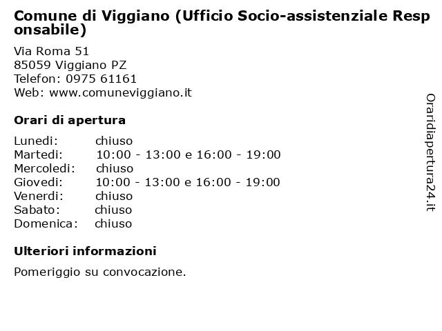 Comune di Viggiano (Ufficio Socio-assistenziale Responsabile) a Viggiano PZ: indirizzo e orari di apertura