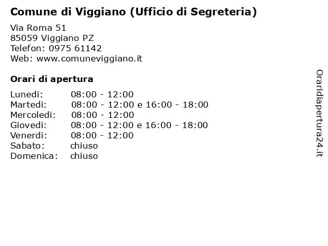 Comune di Viggiano (Ufficio di Segreteria) a Viggiano PZ: indirizzo e orari di apertura