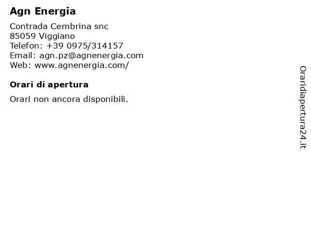 Agn Energia a Viggiano: indirizzo e orari di apertura