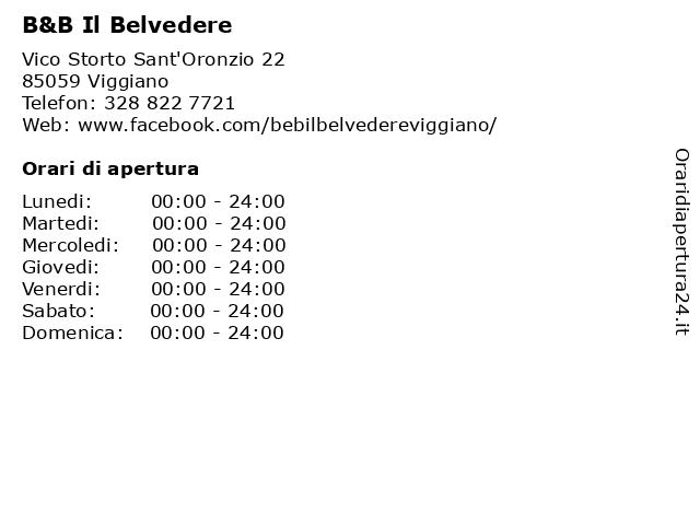 B&B Il Belvedere a Viggiano: indirizzo e orari di apertura