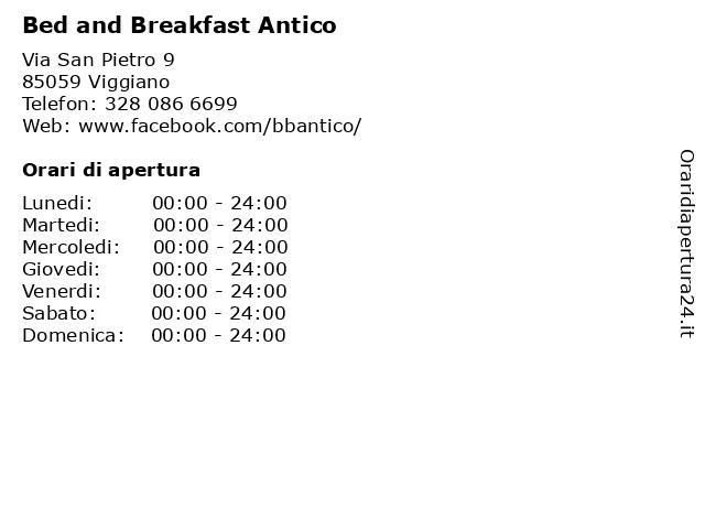 Bed and Breakfast Antico a Viggiano: indirizzo e orari di apertura