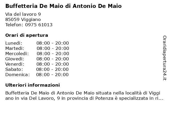 Buffetteria De Maio di Antonio De Maio a Viggiano: indirizzo e orari di apertura