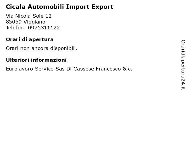 Cicala Automobili Import Export a Viggiano: indirizzo e orari di apertura