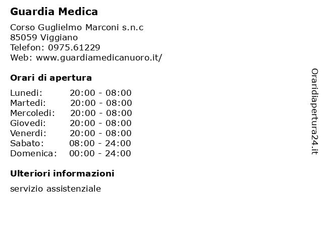Guardia Medica a Viggiano: indirizzo e orari di apertura