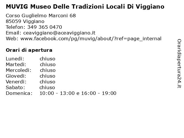 MUVIG Museo Delle Tradizioni Locali Di Viggiano a Viggiano: indirizzo e orari di apertura