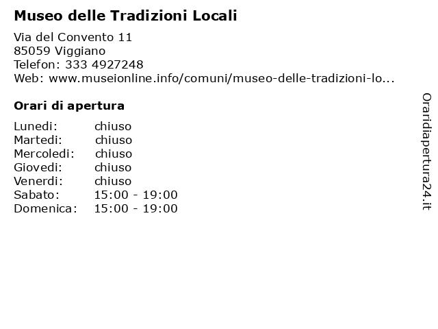 Museo delle Tradizioni Locali a Viggiano: indirizzo e orari di apertura