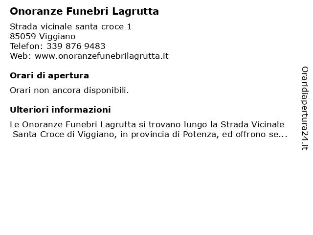 Onoranze Funebri Lagrutta a Viggiano: indirizzo e orari di apertura