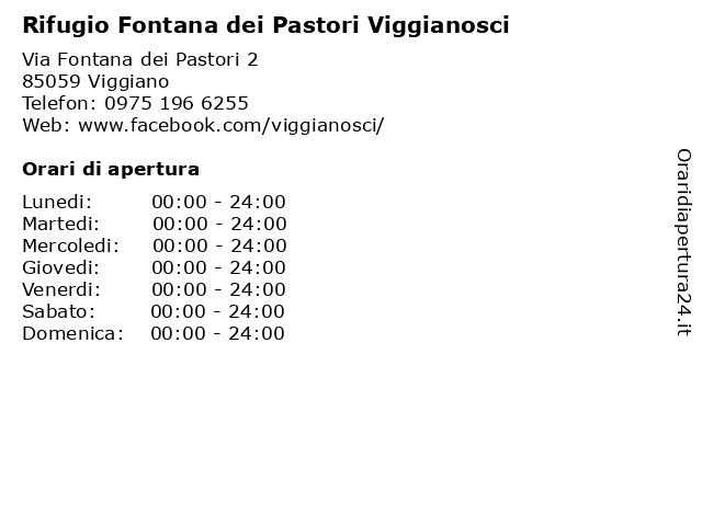Rifugio Fontana dei Pastori Viggianosci a Viggiano: indirizzo e orari di apertura