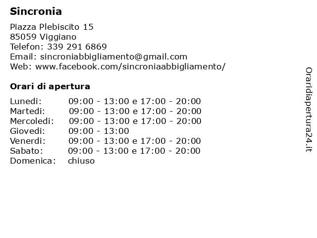Sincronia a Viggiano: indirizzo e orari di apertura