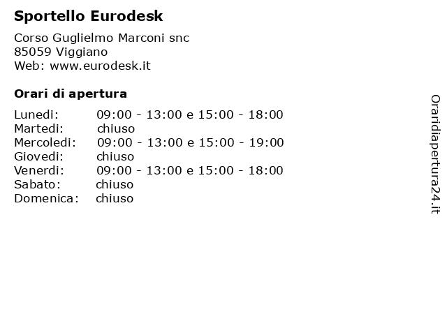 Sportello Eurodesk a Viggiano: indirizzo e orari di apertura