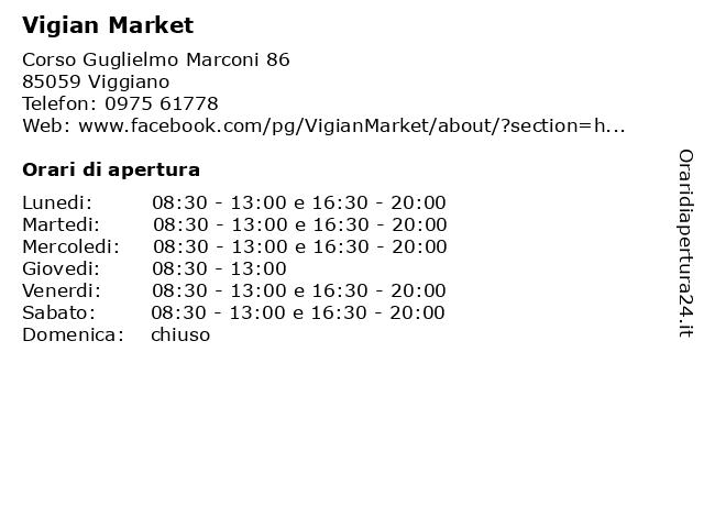 Vigian Market a Viggiano: indirizzo e orari di apertura