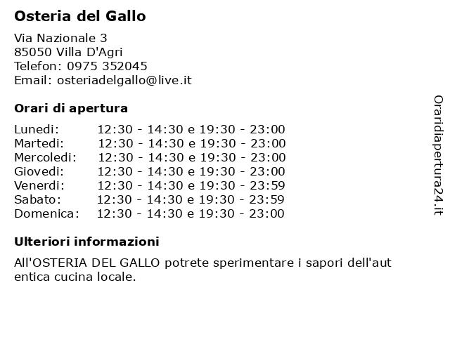 Osteria del Gallo a Villa D'Agri: indirizzo e orari di apertura