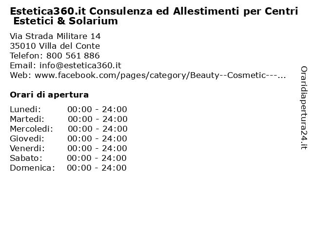 Estetica360.it Consulenza ed Allestimenti per Centri Estetici & Solarium a Villa del Conte: indirizzo e orari di apertura