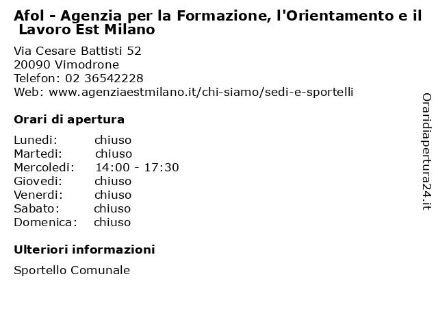 Afol - Agenzia per la Formazione, l'Orientamento e il Lavoro Est Milano a Vimodrone: indirizzo e orari di apertura