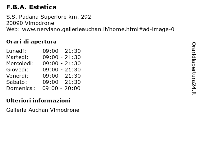 F.B.A. Estetica a Vimodrone: indirizzo e orari di apertura