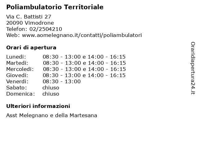 Poliambulatorio Territoriale a Vimodrone: indirizzo e orari di apertura