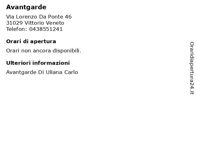 Avantgarde a Vittorio Veneto: indirizzo e orari di apertura