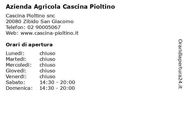 Azienda Agricola Cascina Pioltino a Zibido San Giacomo: indirizzo e orari di apertura