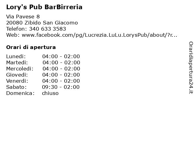 Lory's Pub BarBirreria a Zibido San Giacomo: indirizzo e orari di apertura