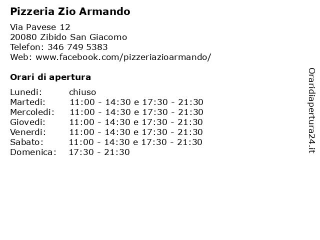 Pizzeria Zio Armando a Zibido San Giacomo: indirizzo e orari di apertura